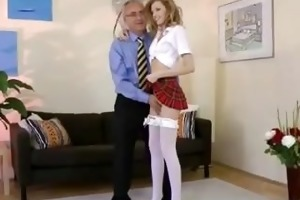 golden-haired masturbating before old man