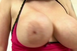 breasty milf masturbates in her dark nylon