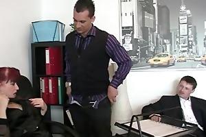 office bitch swallows dicks