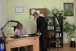 he is bangs excited office lady