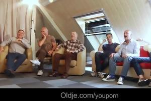 six oldmen team fuck youthful blonde