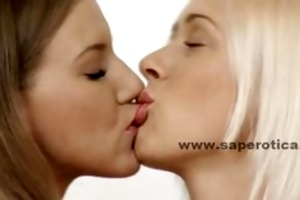 couple of juvenile cute lesbian babes playing