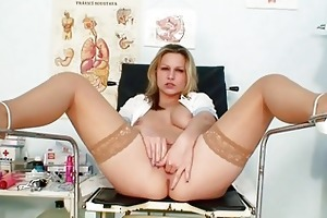 young golden-haired nurse in nylons and heels