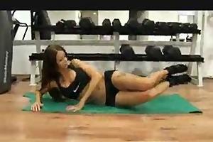 charming brunette hair fuck in gym