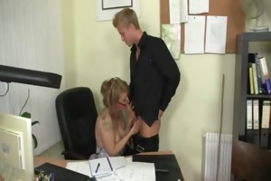 office lady gives head and receives drilled