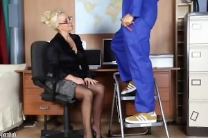 office milf wanks off her handymans large cock
