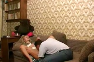 russian juvenile blonde girl receives fucked by