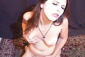cute juvenile wench slips pussy on sybian