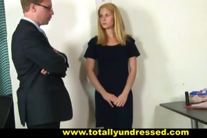hardcore job interview for a young secretary