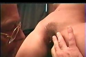 young gal &; grandpa cum on cum-hole