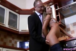 older guy watches younger slut finger