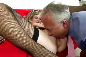older chap copulates juvenile blonde in nylons