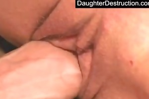young daughter abased in her face hole and pussy