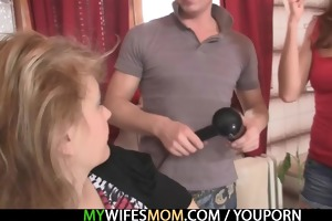 his wife comes out and he bangs her mom