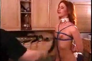 dad spanks and clamps his sexy redheaded