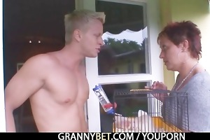 granny rides neighbours large cock