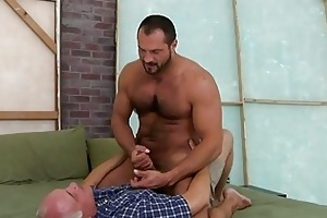 hot old fellow is swallowing unfathomable a dudes