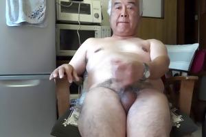 japanese old chap masturbation cumshot in the