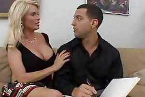 breasty golden-haired cougar fucks a hard