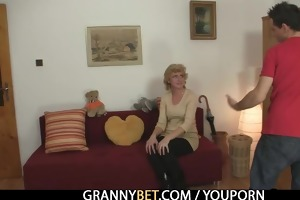 old golden-haired is picked up for cock riding