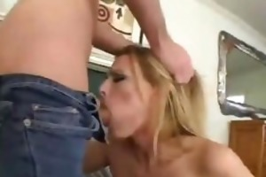 charming blonde milf takes a long one