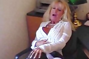 hot granny cougar in stockings fucks a youthful