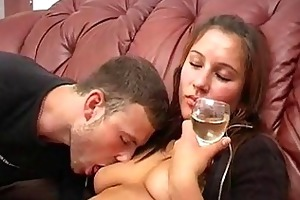 young drunk fake awesome girl discharges an