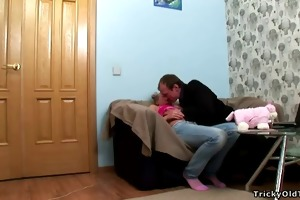 blonde sexy young wench fucks an old chap