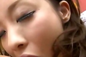 young asian maid giving oral job getting her
