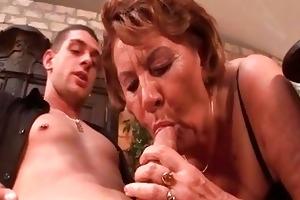 horny 50yo granny sucks on a young boys cock