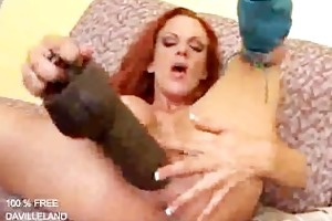 wench takes biggest dildo and likes it......