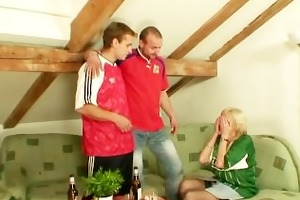 blond granny pleases friends