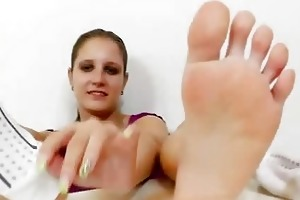 footjob from a young dark brown