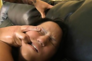 filty latin chick roughly riding on a dick on old