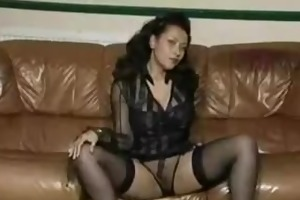 large boobed sexy milf dancing striptease on