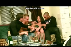 group-sex sex with a youthful brunette