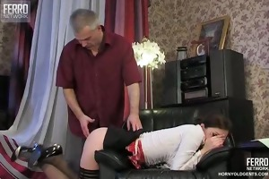 young gal fucked by old dude
