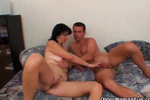 mamma with big titties receives cum glazed