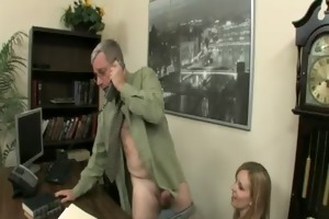 cute blonde miss marie fuck her old boss to keep