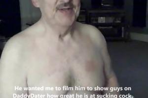 cum lover daddybear grandad with dentures drinks