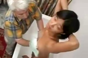 old man and young asian playgirl