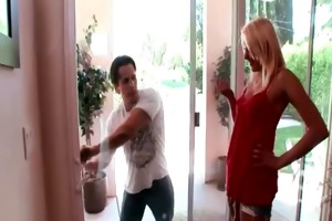 busty golden-haired d like to fuck receives