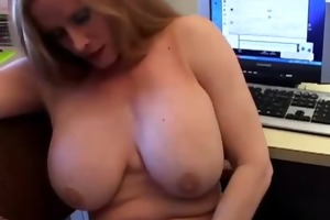 busty cougar in fishnet nylons
