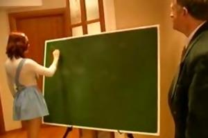 old teacher abused juvenile redhead schoolgirl in