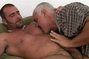older gay dad and tattooed hunk having hardcore