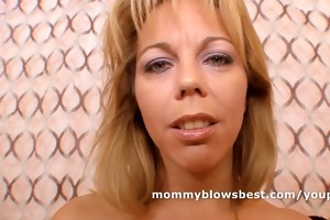 horny breasty mom blows young ramrod