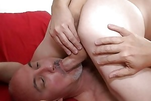 muscled homo and his mature dad licking balls in