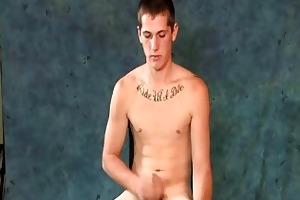 youthful str8 punk jerking off his boner
