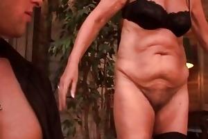 lustful 50yo granny sucks on a juvenile chaps cock