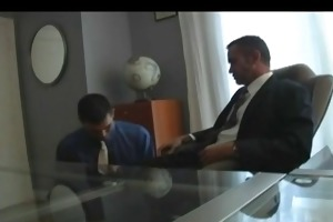 full suited dad copulates boy at office